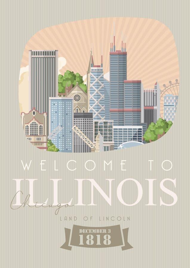 Molde do vetor de Illinois Terra de Lincoln Estado de E.U. Estados Unidos da América ilustração stock