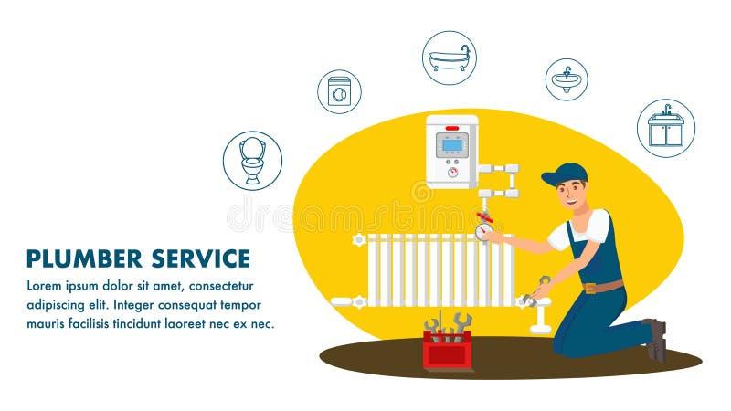 Molde do vetor de Service Website Banner do encanador ilustração royalty free