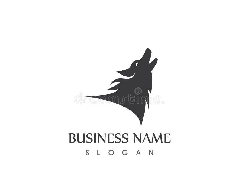 Molde do vetor de Wolf Head Silhouette Logo Design ilustração royalty free
