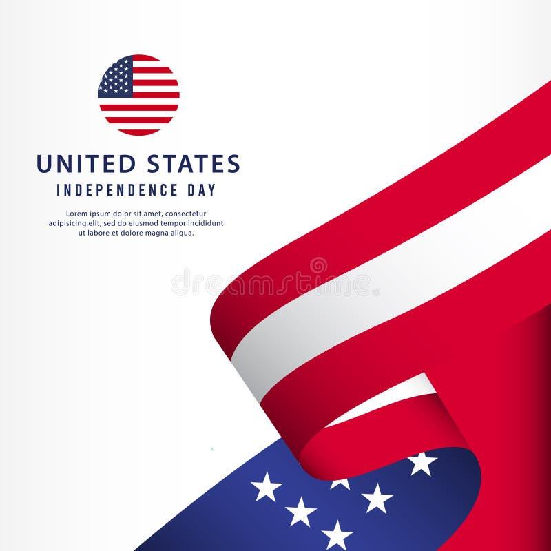 Molde do vetor do Dia da Independência de Estados Unidos Projeto para a bandeira, a propaganda, os cartões ou a cópia Felicidade  ilustração do vetor