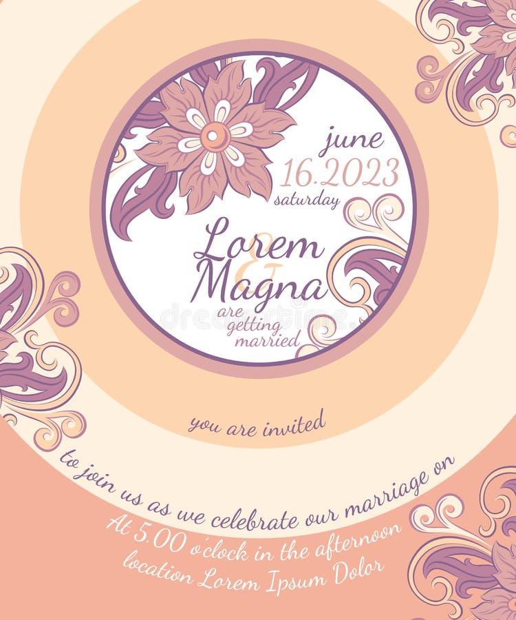 Molde do vetor do cartão de casamento do convite ilustração stock