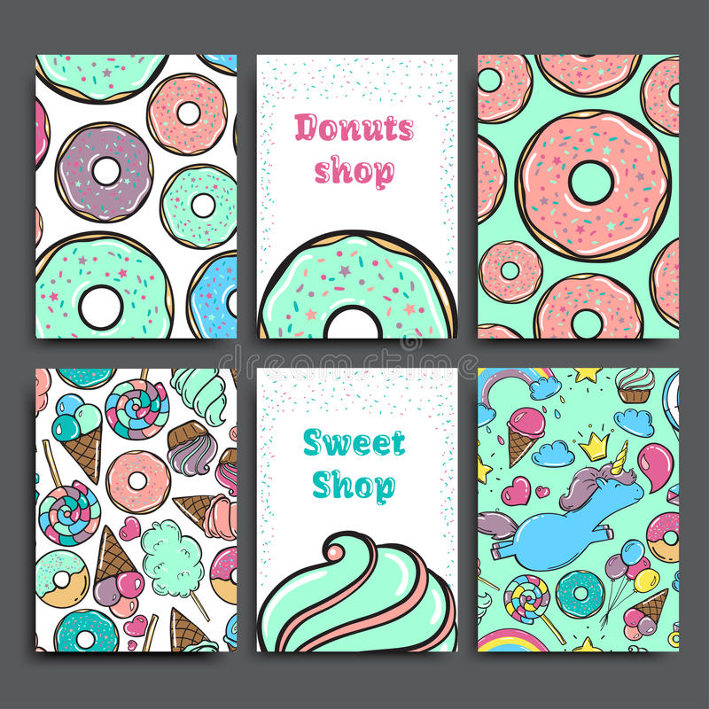 Molde do vetor do cartaz ajustado com anéis de espuma Anúncio para a loja ou o café da padaria Fundo doce ilustração stock