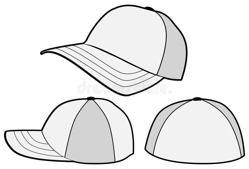 Molde do vetor do chapéu ou do tampão de basebol ilustração do vetor