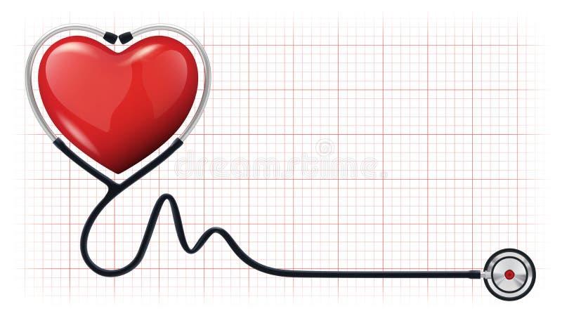 molde do vetor do estetoscópio do cardiogram do coração 3d ilustração do vetor