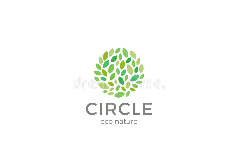 Molde do vetor do projeto da forma do círculo do logotipo de Eco das folhas Logotype natural orgânico do parque do jardim ilustração royalty free