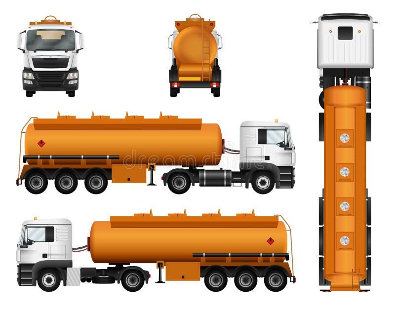 Molde do vetor do reboque do caminhão Petroleiro do gás de combustível Carro no fundo branco ilustração stock