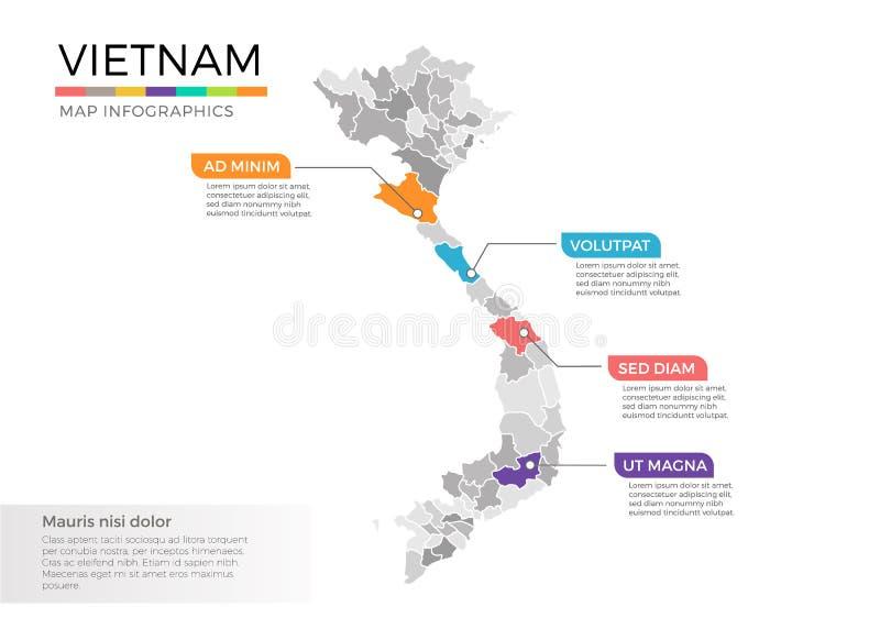 Molde do vetor do infographics do mapa de Vietname com regiões e marcas do ponteiro ilustração stock