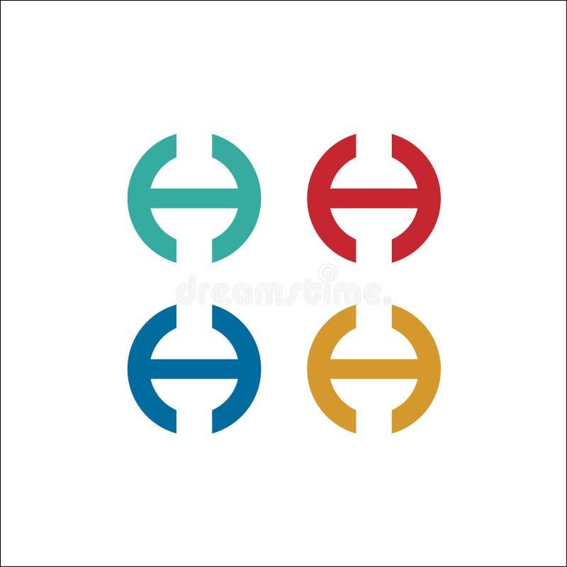 Molde do vetor do logotipo do círculo das iniciais H ilustração royalty free