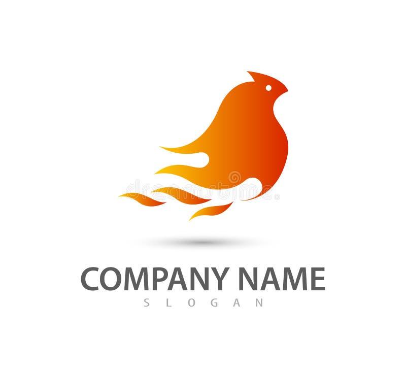 Molde do vetor do logotipo do sumário do pássaro da chama do fogo Conceito na moda novo Molde do ícone do vetor ilustração do vetor