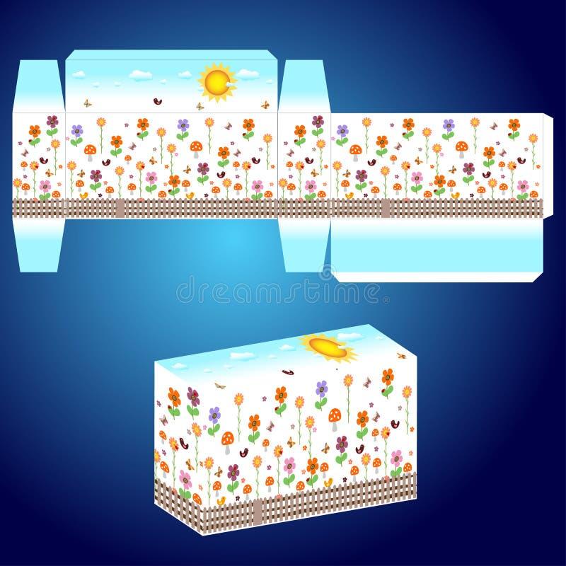 Molde do vetor para a caixa com flores felizes ilustração do vetor