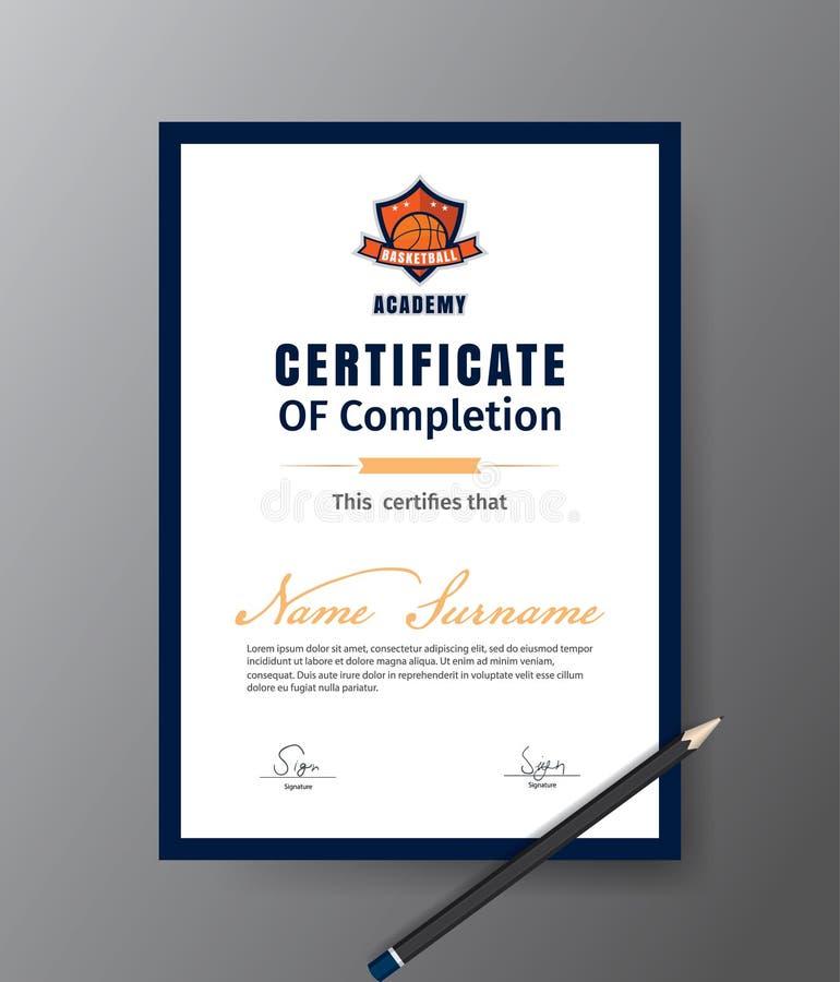Molde do vetor para o certificado do curso de formação do basquetebol ilustração stock