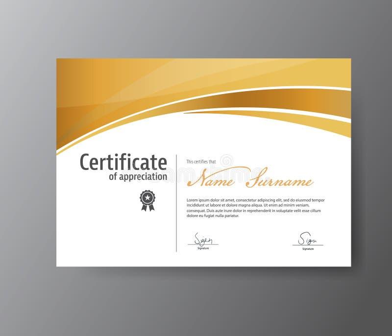 Molde do vetor para o certificado, diploma moderno ilustração stock