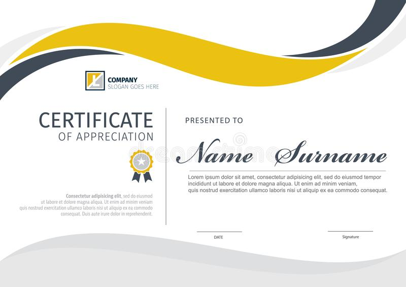 Molde do vetor para o certificado ou o diploma ilustração stock