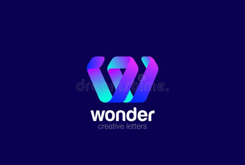 Molde do vetor do projeto da fita do logotipo de W da letra ilustração do vetor