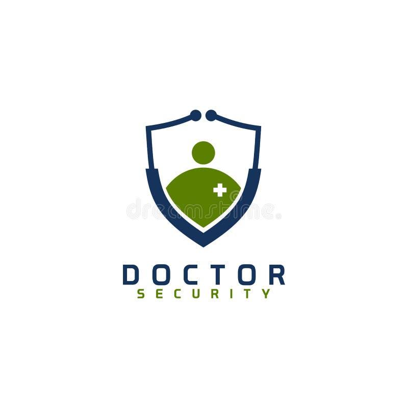 Molde do vetor do projeto do logotipo da segurança do doutor ilustração stock