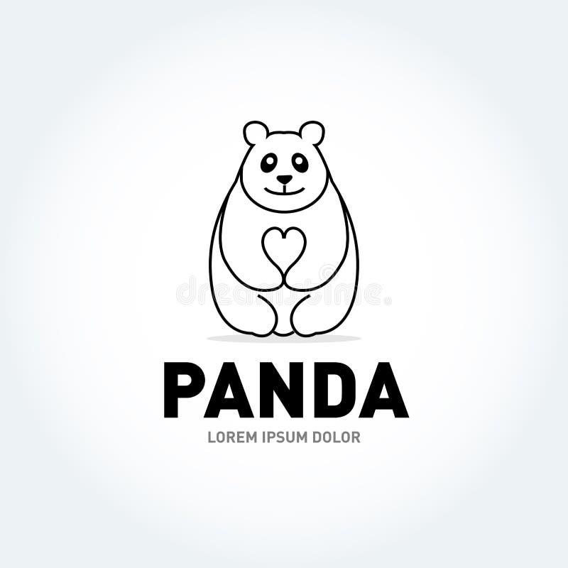 Molde do vetor do projeto do logotipo da silhueta do urso de panda Ícone animal preguiçoso engraçado do conceito do Logotype de L ilustração do vetor