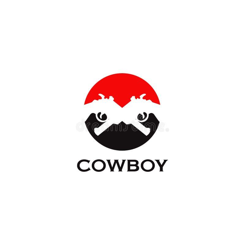 Molde do vetor do projeto do logotipo do vaqueiro com utiliza??o do projeto cruzado do ?cone do revolper ilustração do vetor