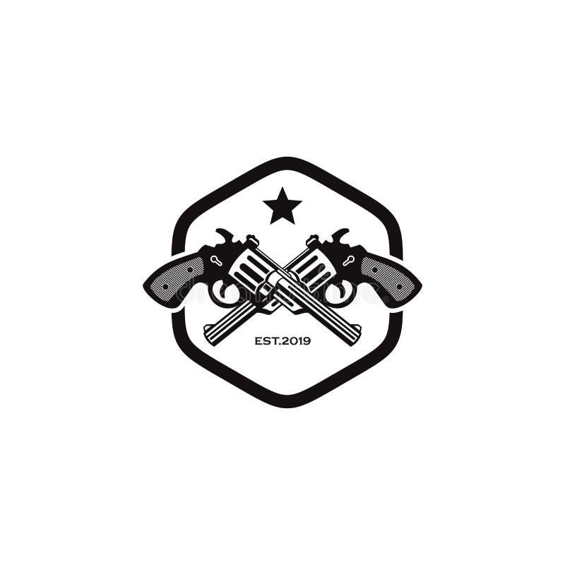Molde do vetor do projeto do logotipo do vaqueiro com utiliza??o do projeto cruzado do ?cone do revolper ilustração stock