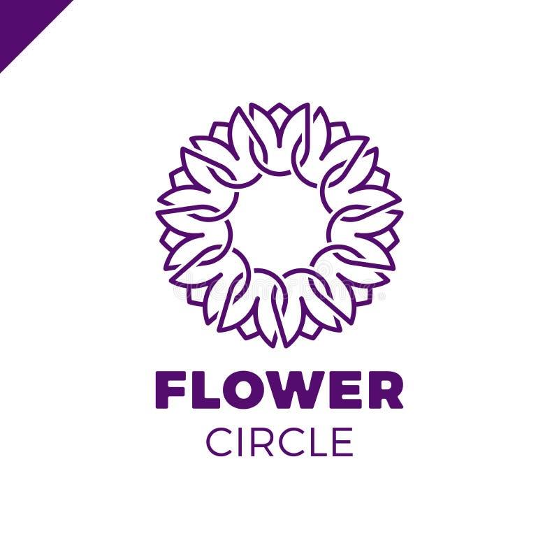 Molde do vetor do projeto do sumário do círculo do logotipo da flor Ícone dos TERMAS da tulipa Conceito do Logotype do salão de b ilustração royalty free