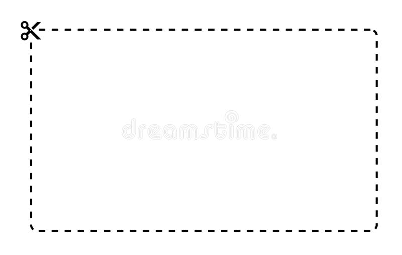Molde do vetor do retângulo do vale Linha tracejada com as tesouras pretas no fundo branco ilustração do vetor