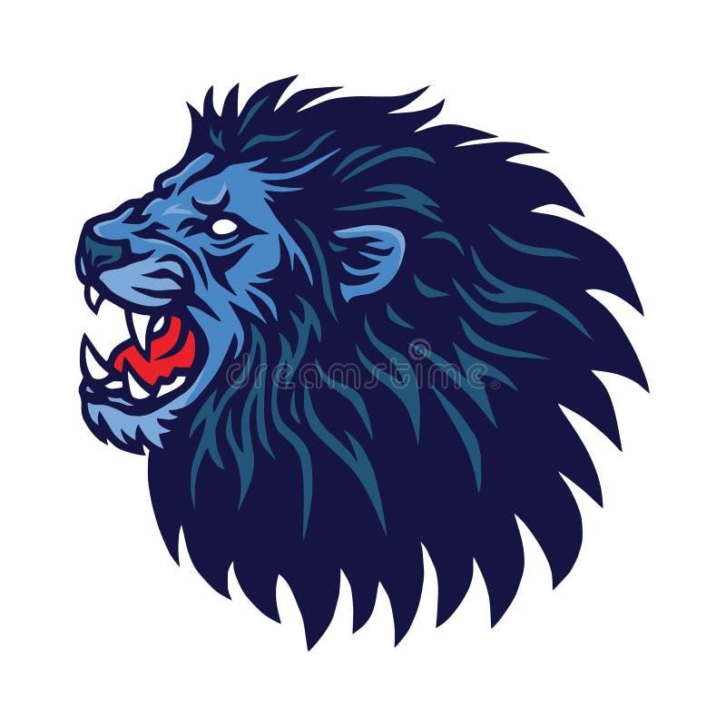 Molde do vetor rujir Lion Head Logo Design Mascot ilustração royalty free