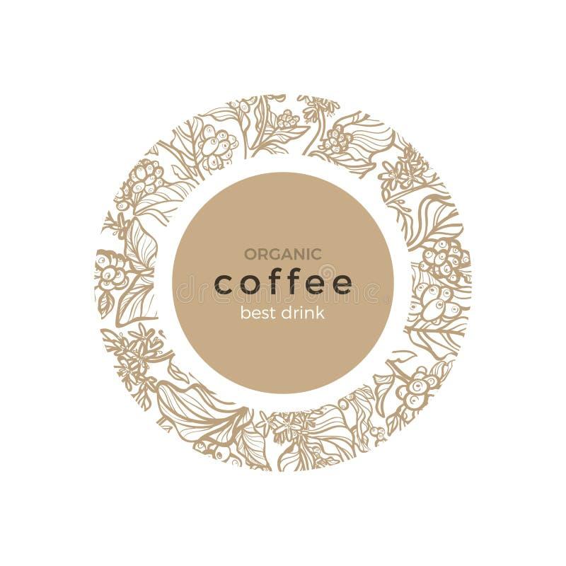 Molde do vetor Símbolo da natureza do café ilustração stock