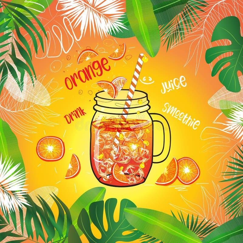 Molde do vetor do suco de laranja no frasco de pedreiro ilustração do vetor