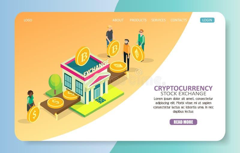 Molde do vetor do Web site da página da aterrissagem da bolsa de valores de Cryptocurrency ilustração do vetor