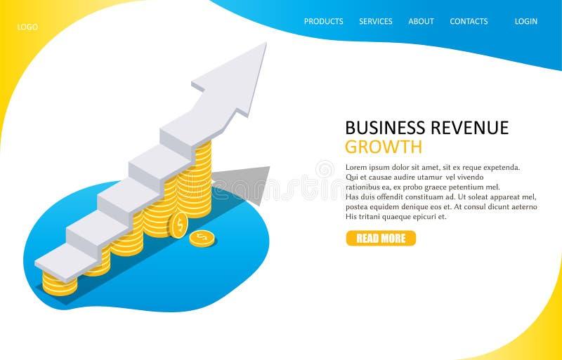 Molde do vetor do Web site da página da aterrissagem do crescimento do rendimento ilustração stock