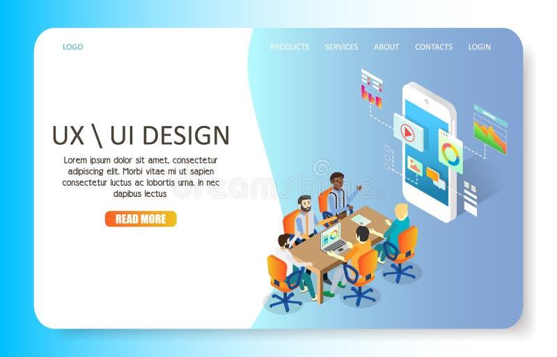 Molde do vetor do Web site da página da aterrissagem do projeto de UX ou de UI ilustração stock