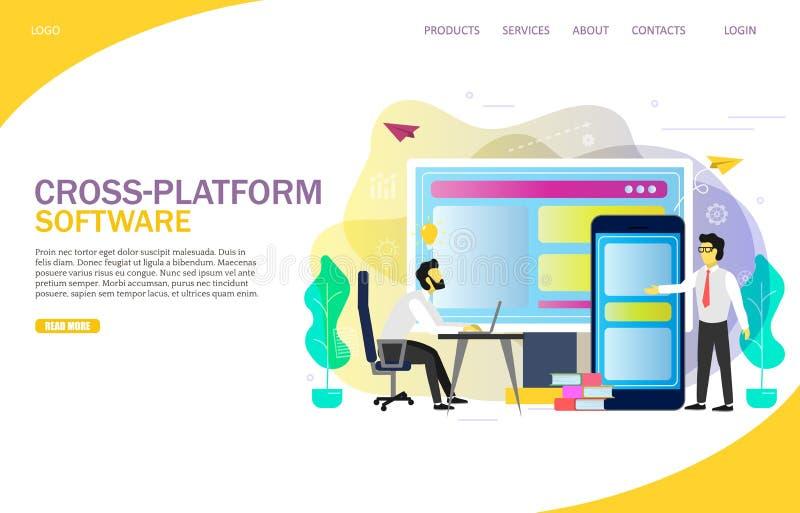 molde do vetor do Web site da página da aterrissagem do software da Cruz-plataforma ilustração do vetor