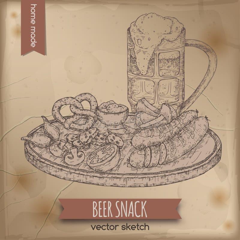 Molde do vintage com a caneca de cerveja e a placa tiradas mão do petisco ilustração do vetor