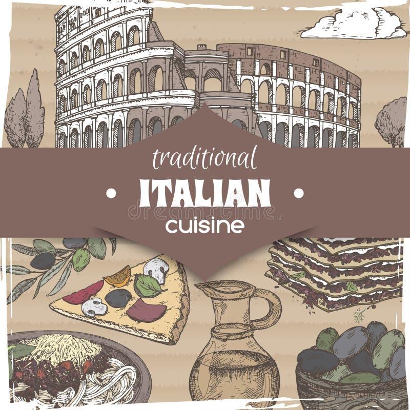 Molde do vintage com os pratos italianos da culinária da paisagem e da cor de Roma ilustração do vetor