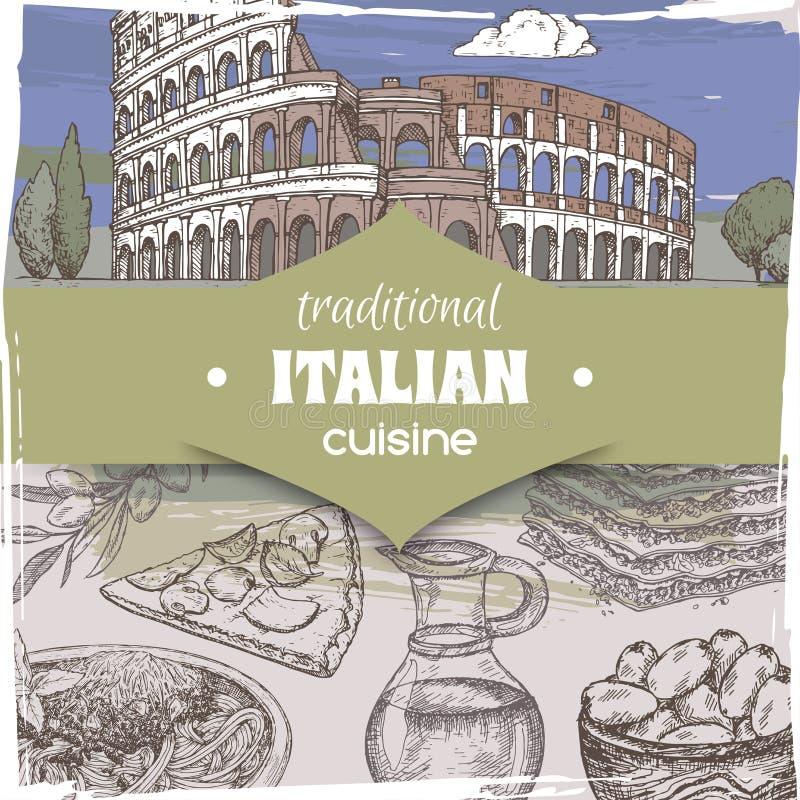 Molde do vintage com paisagem de Roma da cor e os pratos italianos da culinária ilustração stock