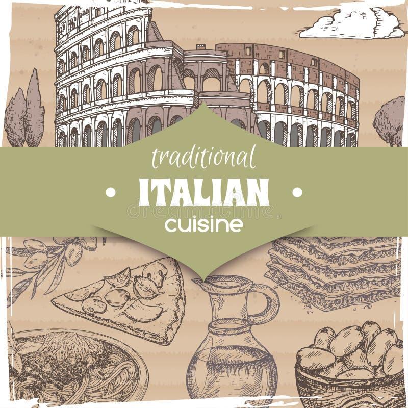 Molde do vintage com paisagem de Roma e os pratos italianos da culinária ilustração royalty free