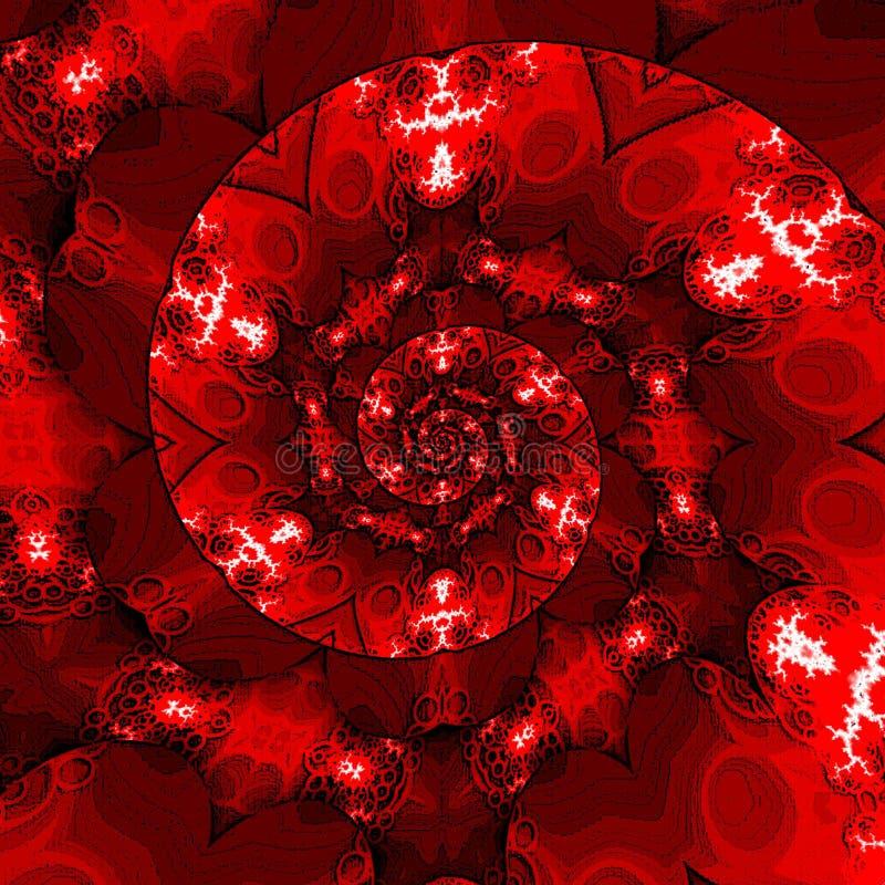 Molde do vintage com redemoinho Contexto vermelho da bandeira do redemoinho com corações ilustração royalty free