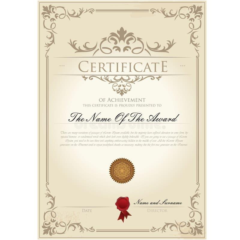 Molde do vintage do certificado ilustração royalty free