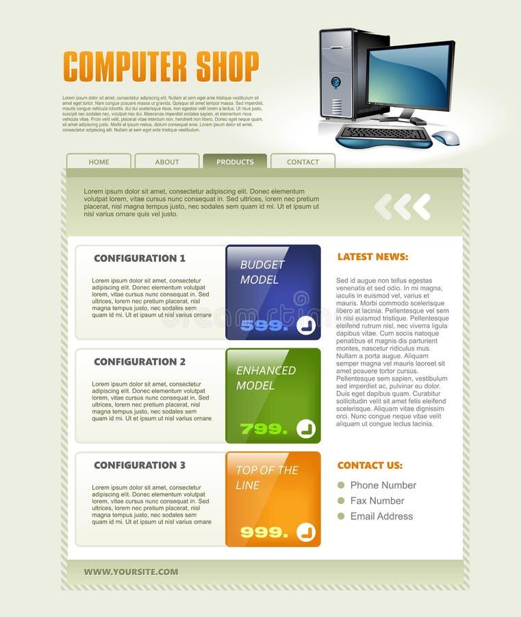 Molde do Web page da loja de computador ilustração do vetor
