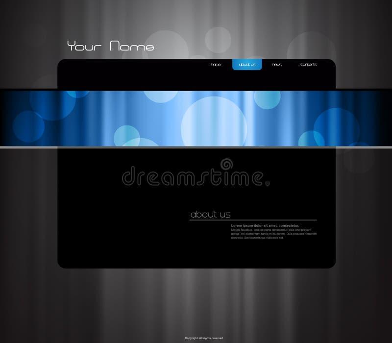 Molde do Web site com cortina azul. ilustração do vetor