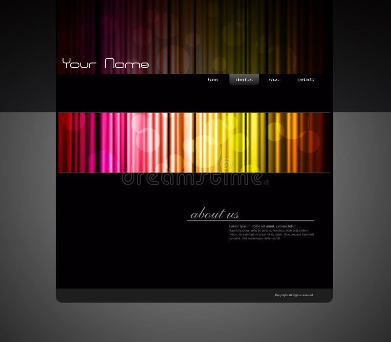 Molde do Web site com cortina colorida. ilustração royalty free