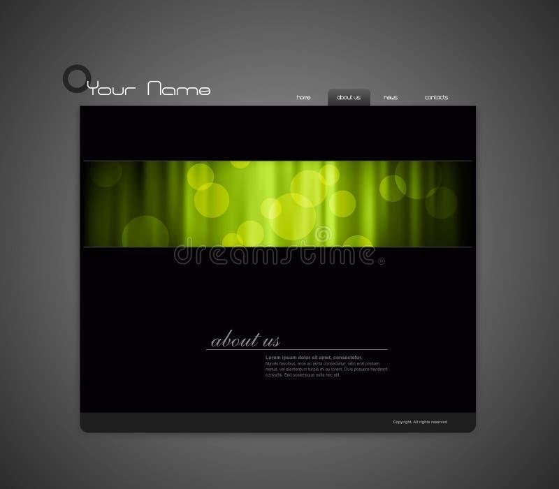 Molde do Web site com cortina verde. ilustração do vetor