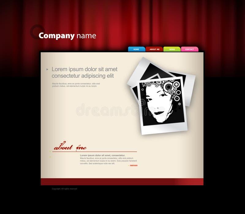 Molde do Web site com cortina vermelha. ilustração royalty free