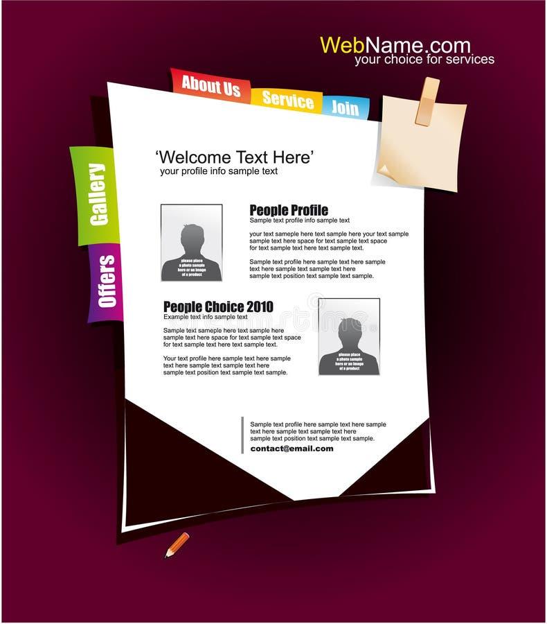Molde do Web site com elementos coloridos do projeto ilustração do vetor