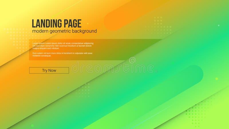 Molde do Web site com fundo moderno do inclinação e do gráfico O conceito da página da aterrissagem do Web site com dinâmico ilustração do vetor