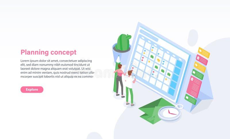 Molde do Web site com posição do homem e da mulher na frente da programação, do calendário ou do calendário Planeamento, gestão d ilustração stock