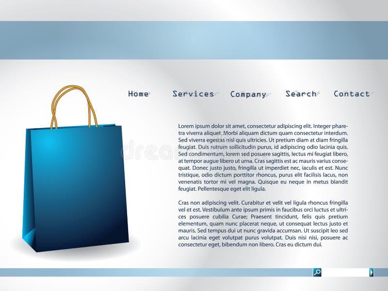 Molde do Web site com saco de papel azul ilustração stock