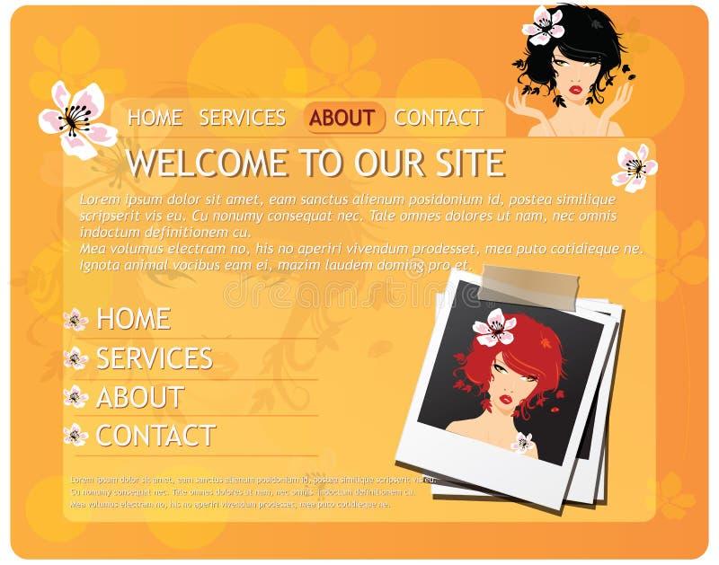Molde do Web site da beleza com menina bonita ilustração do vetor