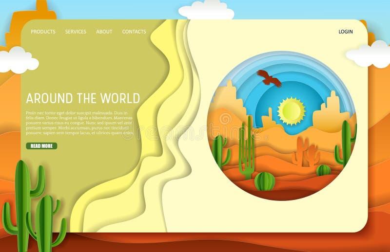 Molde do Web site da página da aterrissagem da viagem do deserto do corte do papel do vetor ilustração stock