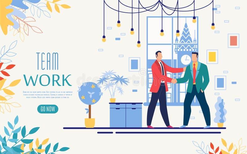 Molde do Web site de Team Work Online Startup Vetora ilustração royalty free