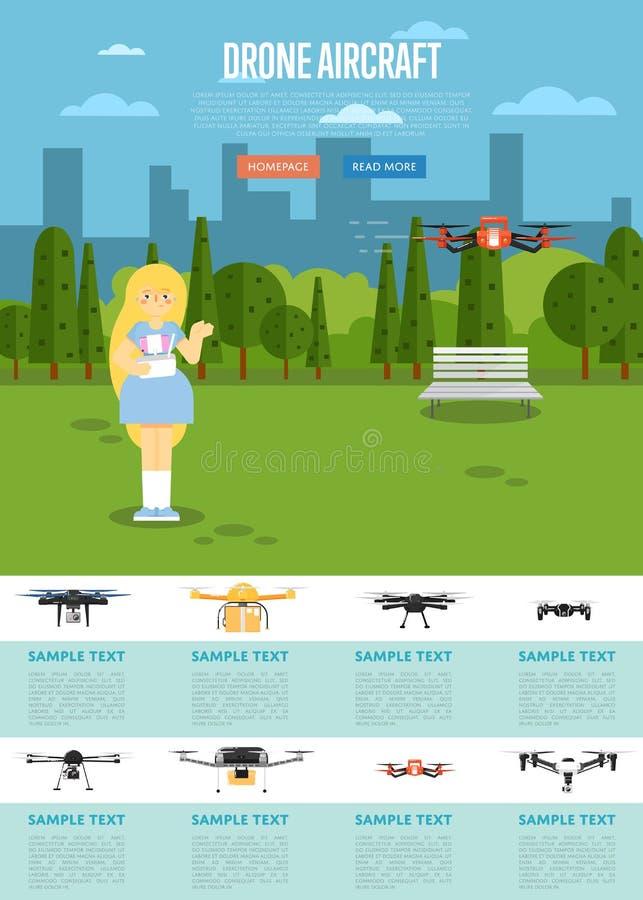 Molde do Web site dos aviões do zangão com robô do voo ilustração do vetor